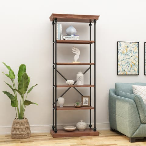"""Abramo Industrial 5-shelf Firwood Bookcase by Christopher Knight Home - 34.00"""" W x 15.50"""" D x 84.75"""" H"""