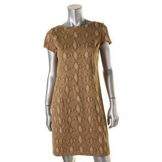 Lauren Ralph Lauren Womens Petites Contessa Party Dress Snake Print Short Sleeve