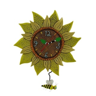 Allen Designs Bee Sunny Sunflower Wall Clock with Bee Pendulum - 13 X 10.25 X 1.5 inches