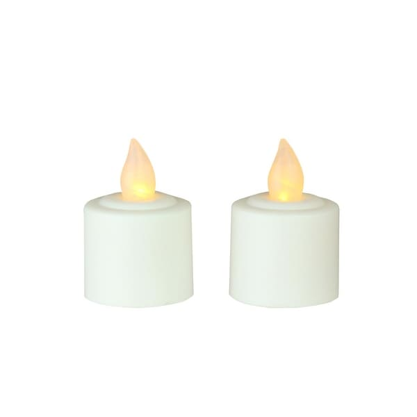Pack of 2 White Battery Operated LED Flickering Amber Lighted Christmas Votive Candles 1.5""