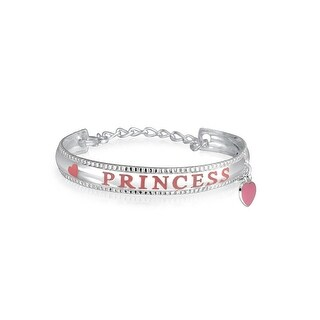 Bling Jewelry 925 Silver Girls Pink Enamel Princess Heart Charm Baby Bracelet
