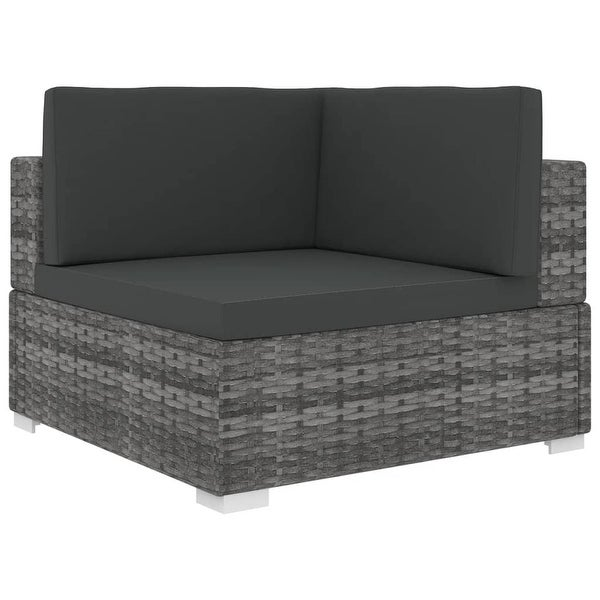 vidaXL Sectional Corner Chair with Cushions Poly Rattan Gray. Opens flyout.