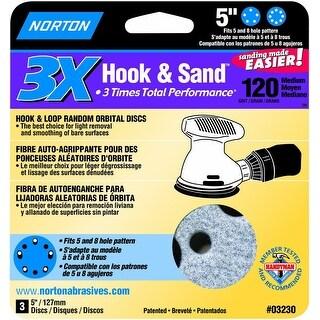 """Norton 03230 Hook and Loop Sanding Discs, 120 Grit, 5"""""""