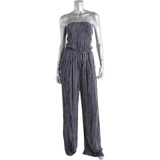Olivaceous Womens Striped Open Back Jumpsuit