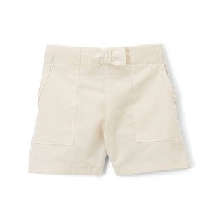 Girls Ivory Solid Color Bow Accented Waist Cotton Summer Shorts