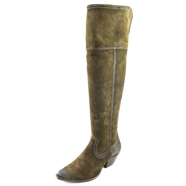 Frye Sacha OTK Women Pointed Toe Leather Green Over the Knee Boot
