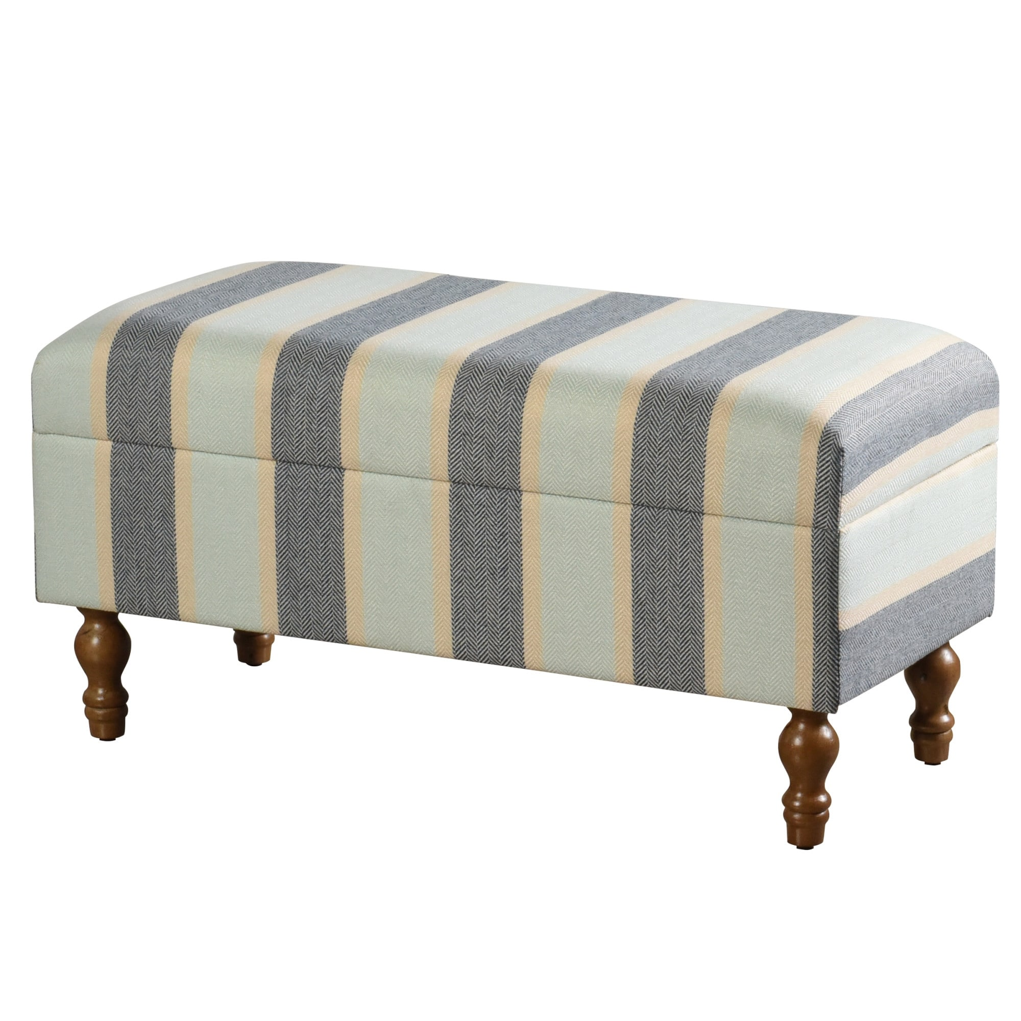 StyleCraft SC-AF24893ADS  35 3/4 Wide Wood Framed Striped Storage Bench - Blue