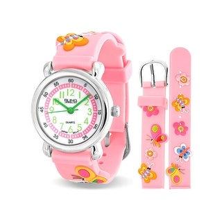Bling Jewelry Pink Girls Butterfly Flower Kids Watch Stainless Steel Back
