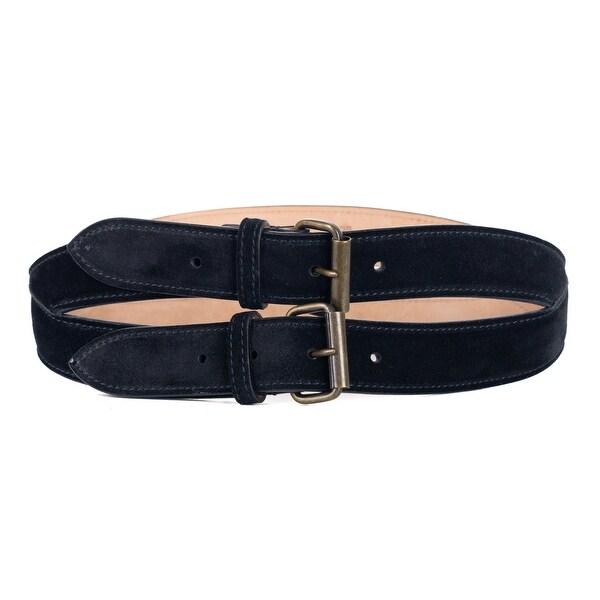 Roberto Cavalli Black Spiral Stitched Double Suede Belt