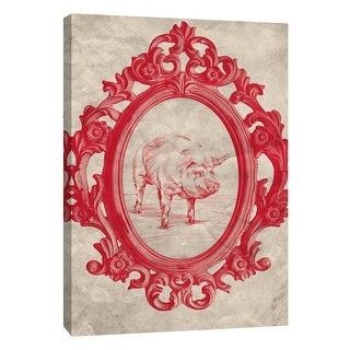 """PTM Images 9-108975  PTM Canvas Collection 10"""" x 8"""" - """"Framed Pig in Crimson"""" Giclee Pigs Art Print on Canvas"""