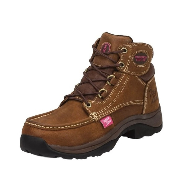Tony Lama Work Boots Womens Tonk Waterproof Steel Toe Tan RR3051L