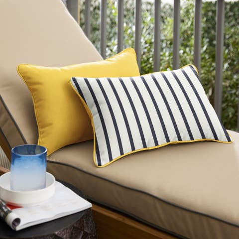Sunbrella 2-sided Corded Lumbar Pillows (Set of 2) by Havenside Home