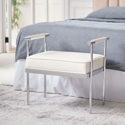 """SAFAVIEH Pim Glam Small Rectangle Cushion Bench with Arms - 25.3"""" W x 17.3"""" L x 24.8"""" H"""