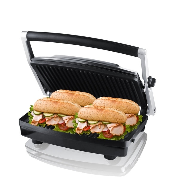 ZZ Burger Grill, Sandwich Maker, Panini Press, Steaks Griller or Grill Tool with Large Cooking Surface, Silver