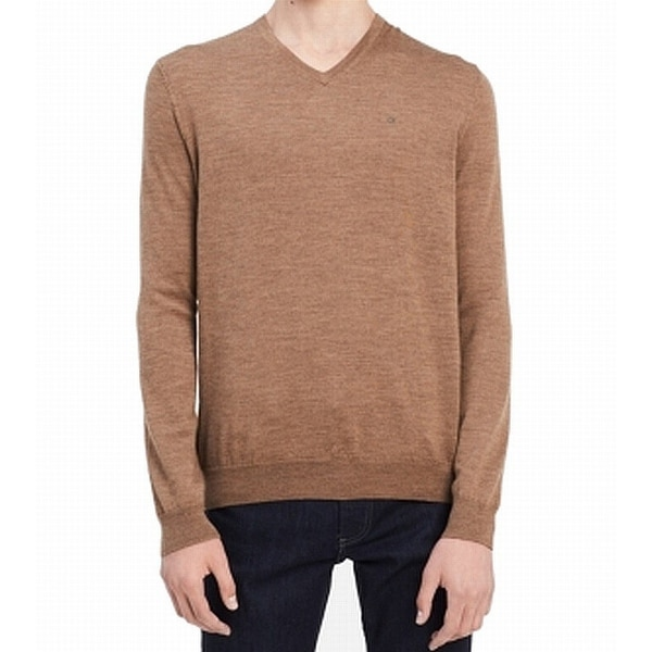 71d504829c0 Shop Calvin Klein Light Brown Mens Size 2XL V-Neck Wool Solid Sweater - On  Sale - Free Shipping On Orders Over  45 - Overstock - 27003588
