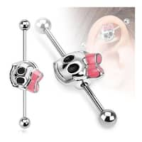Cute Skull with Ribbon Industrial Barbell 316L Surgical Steel (Sold Ind.)