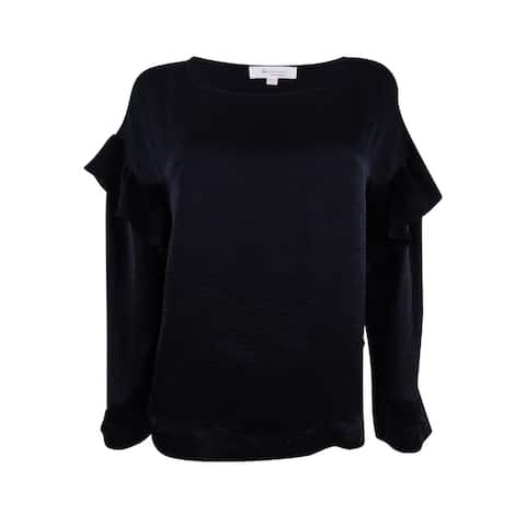 Two by Vince Camuto Women's Velvet Ruffled Top (S, Rich Black) - Rich Black - S