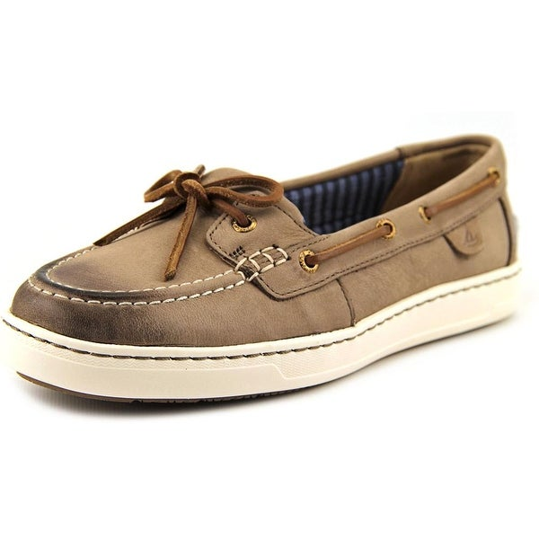 Sperry Top Sider Harbor Stroll Women  Moc Toe Leather Gray Boat Shoe