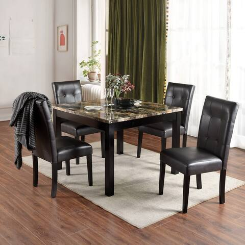 Furniture R Transitional Faux Marble Dining Set (Set of 5)