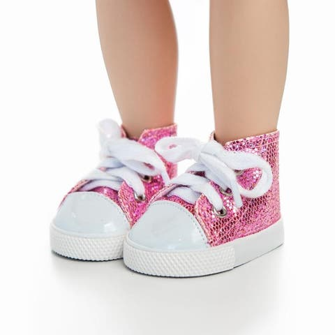 18 Inch Doll Clothes Accessory, Pink Sparkle Sneaker Plus Authentic Shoe Box Fits American Girl Dolls