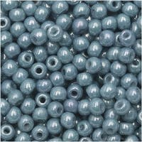 True2 Czech Glass, Round Druk Beads 2mm, 200 Pieces, Chalk Blue Luster