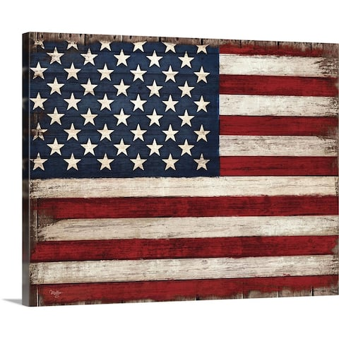 """Distressed American Flag"" Canvas Wall Art"