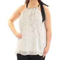 CYNTHIA ROWLEY Womens Ivory Floral Sleeveless Halter Top  Size: XL