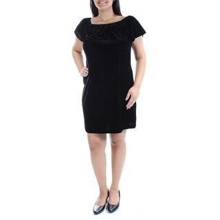 Womens Black Short Sleeve Mini Shift Formal Dress Size: M
