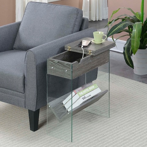 Porch & Den Urqhuart Flip Top End Table with Charging Station