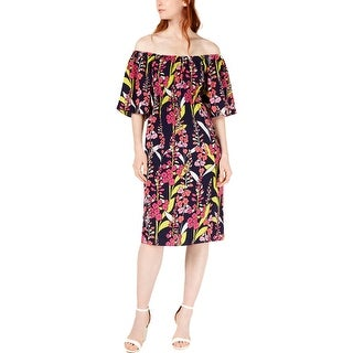 Link to Trina Turk Womens Casual Dress Floral Off-The-Shoulder - Multi Similar Items in Dresses