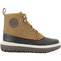 Palladium Men's Crushion SCRMBL Leather Duck Boot Amber Gold/Black Leather