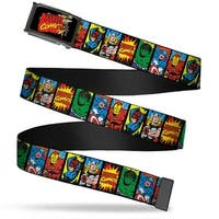 Marvel Comics Marvel Comics Characters Distressed Fcg Black  Chrome Web Belt