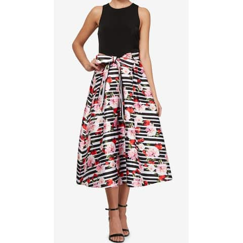 74e4bf17a74 SL Fashions Black Womens Size 6 Floral Striped A-Line Sheath Dress