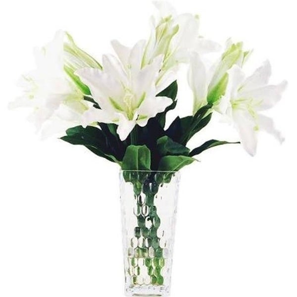 Designs by Lauren 16W27 18 in. Casablanca Lilys in a Jelly Bean Pattern Glass Vase with Acrylic Water