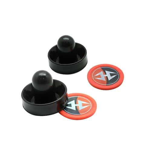 Hathaway Air Hockey 3-in Strikers and 2.5-in Pucks - Black and Orange