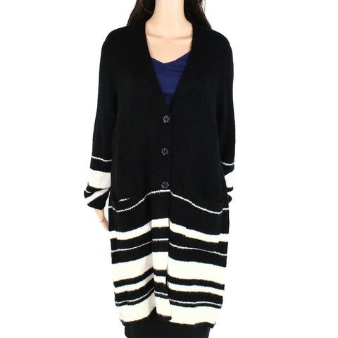 Style & Co Womens Sweater Black White 2X Plus Striped Button Up Cardigan