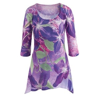 Women's Tunic Top - Lilies 3/4 Sleeves Scoop Neckline - Purple
