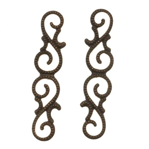 Vintaj Natural Brass Scrollwork Connector Links 39mm (2)