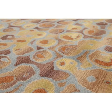 Hand-Knotted Aqua,Gold Oriental Wool Modern Oriental Area Rug (6x9) - 6' x 9'