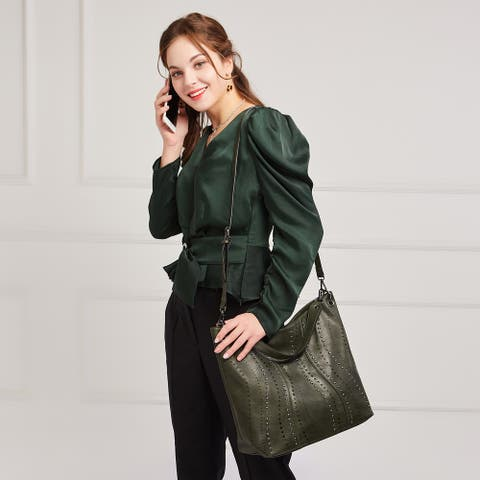 Soft Washed PU Leather Hobo Bag with Studs