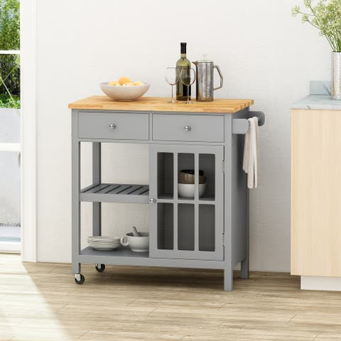 Byway Contemporary Kitchen Cart with Wheels by Christopher Knight Home