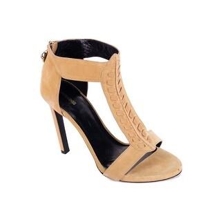 Roberto Cavalli Brown Suede Tonal Stitched T Strap Sandal Heels
