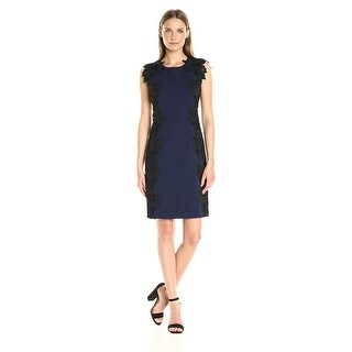 Betsey Johnson Contrast Lace Applique Sheath Dress - 6