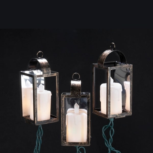 Set of 10 LED Pillar Candle in Mirrored Lantern Christmas Lights - Green Wire - CLEAR