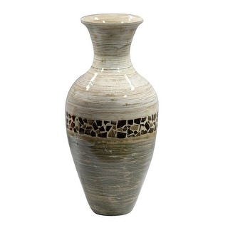 "20"" Spun Bamboo Vase - Bamboo In Distressed White And Green W/ Coconut Shell"