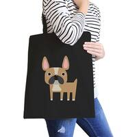 French Bulldog Black Canvas Bag For French Bulldog Owner Tote Bags