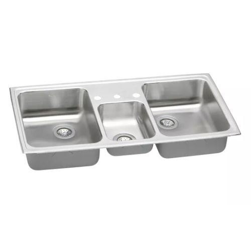 Shop Elkay PSMR4322 Gourmet Pacemaker Stainless Steel 43  x 22  Triple Basin Top Mount Kitchen Sink - Free Shipping Today - Overstock - 17773877  sc 1 st  Overstock.com & Shop Elkay PSMR4322 Gourmet Pacemaker Stainless Steel 43