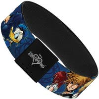 "Kingdom Hearts 6 Character Pose Dark Blues Elastic Bracelet   1.0"" Wide"