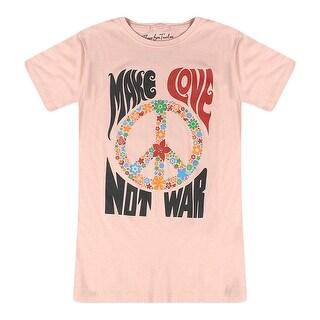 Three For Twelve Make Love Not War Slogan Graphic Printed Junior's Beige T-shirt