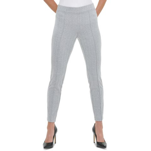 Tommy Hilfiger Women's Front-Seam Pull-On Pants Dark Gray Size Large